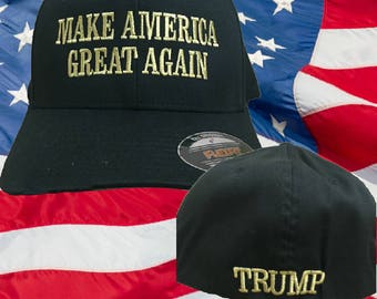Trump 2020 Hat - MAGA Hats - Make America Great Again Hat - Gold Embroidery  -MAGA Cap - Trump 2020 Cap - FlexFit maga Hat - Trump Hats  MAGA 58ad900786af