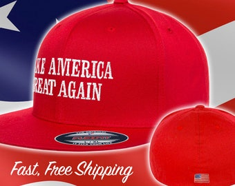 Make America Great Again Trump Hat - Fitted MAGA Flat Brim - American Flag  Back Flexfit Red Maga Hat - Flex Fit Red  MAGA Hat Ships Free fa67b20400f1