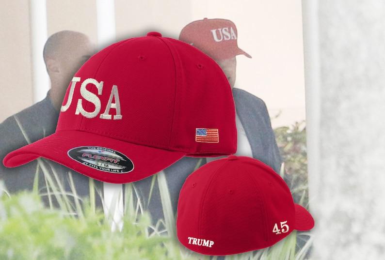 90e790aaf46 USA Hats Embroidered FlexFit Trump USA Hat Trump 45
