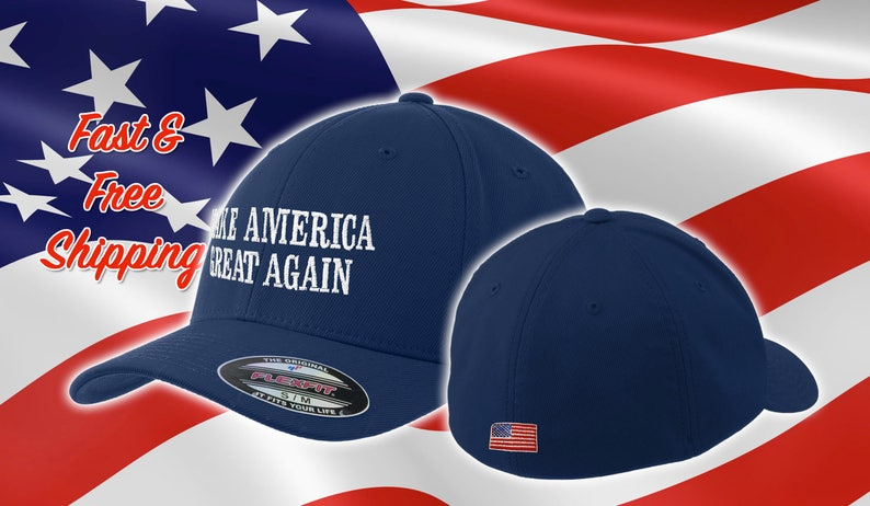 d78fd08cc Make America Great Again Trump Hat, Fitted MAGA Cap, Embroidered American  Flag on Back Flexfit maga Hat, Flex Fit Navy MAGA Hat, Trump #MAGA