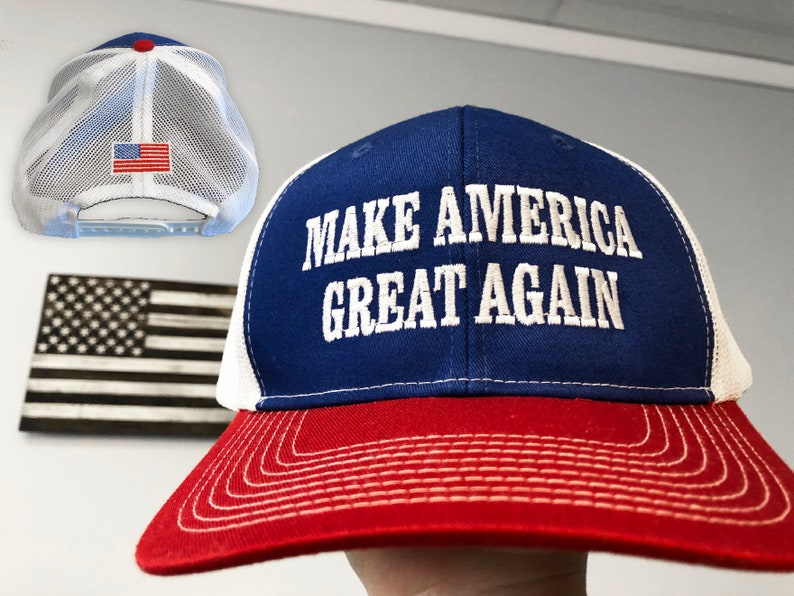 fa80bb392 Trump Hats, Make America Great Again Trump Trucker Cap, Red White and Blue  Trump Hat, Red White and Blue MAGA Hat, Trump #MAGA Free Shipping