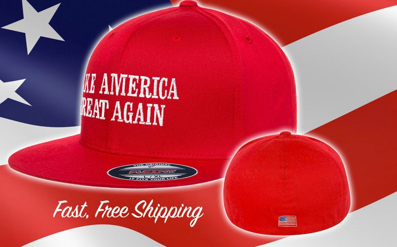 d8cb946aad Make America Great Again Trump Hat Fitted MAGA Flat Brim