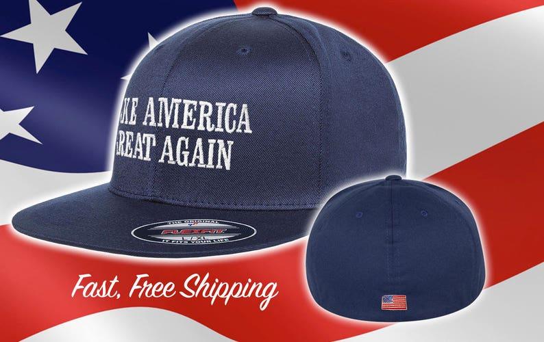 Make America Great Again Trump Hat - Fitted MAGA Flat Brim - American Flag  Back Flexfit Maga Hat ... 2a95f65f0560