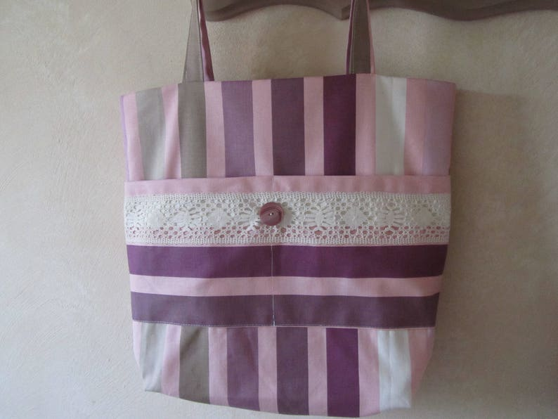 Large striped canvas tote bag Double cloth fabric