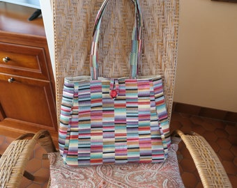 Large bag /Trapeze Form/Shoulder-worn/Fabric furnishings/Doubled canvas bis manufacture