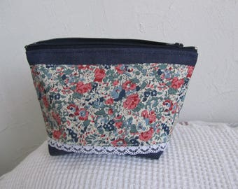 Small zip pouch in denim canvas