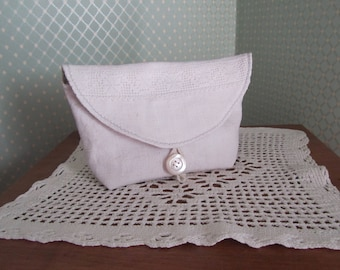 French antique linen pouch, floral cotton lining