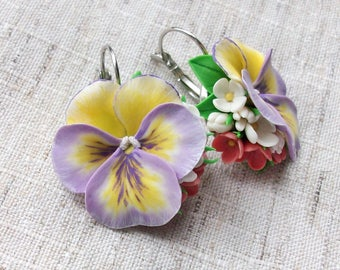 Violet pansy earrings Flower composition with violet pansies Handmade pansies earrings Violet&yellow flower Gift for girlfriend