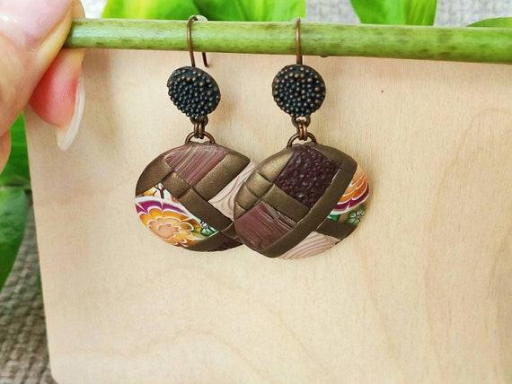 polymer clay earrings gift for women vintage vintage Gold Tear earrings handcrafted jewelry long earrings ceramic earrings