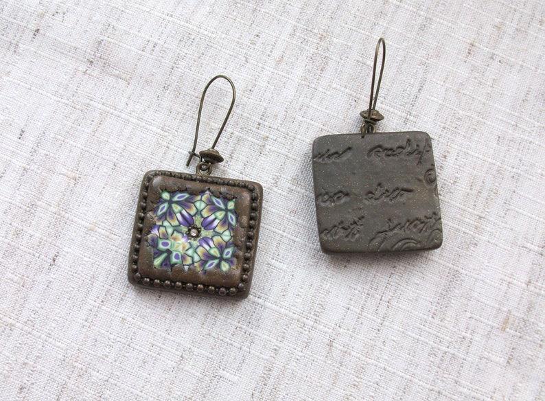 Vintage set Grandmother/'s gift Antique necklace/&earrings Bronze set Kaleidoscope