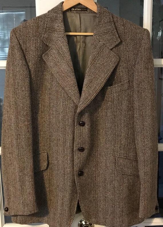 Harris Tweed 3 boutons 44 chevrons Tan/Brown w/rouille Stripe. Adapté pour Campbell de Beauly article #220