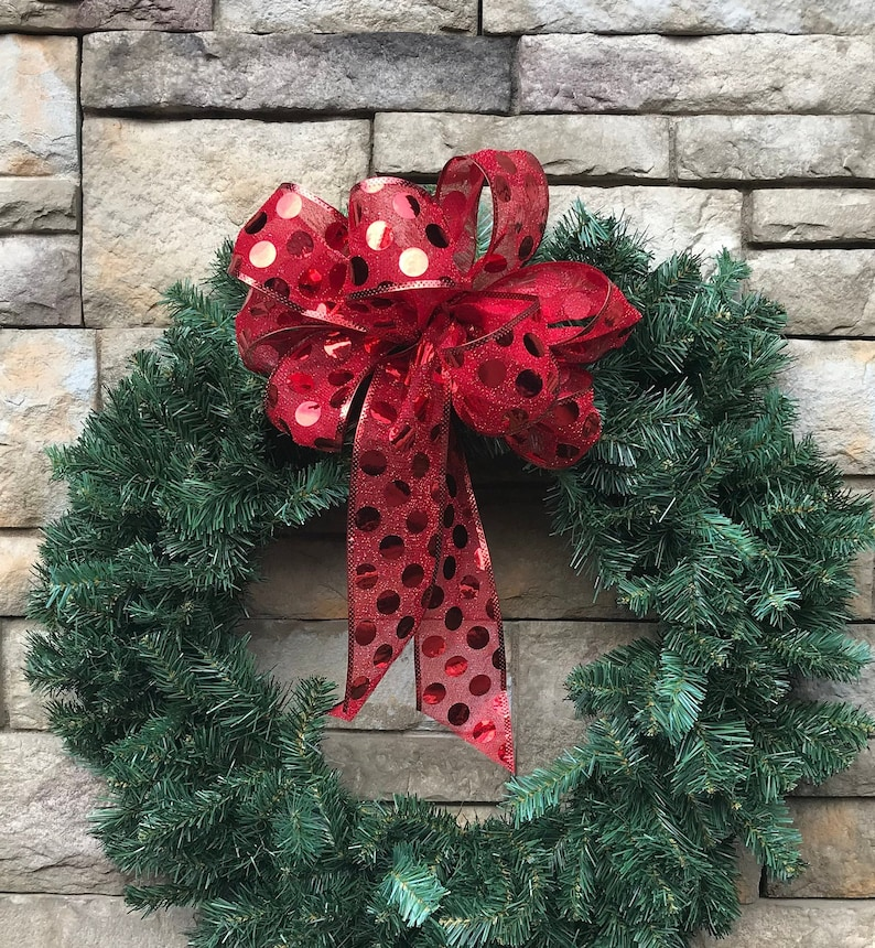 Christmas Tree Bows Red.4 Large Red Metallic Dot Wired Christmas Bows Red Sparkling Tree Bows Red Metallic Holiday Ribbon Red Tree Topper Red Valentines Day Bow