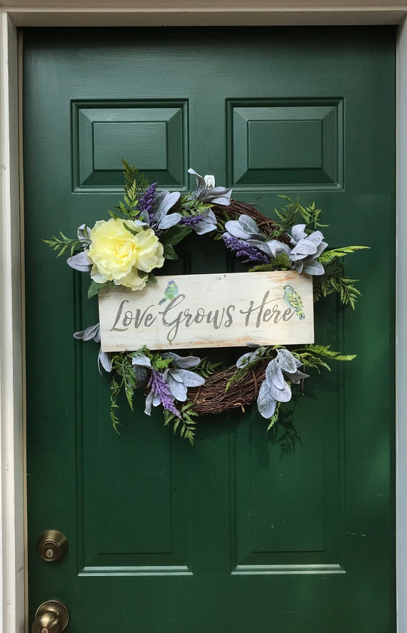 Love Grows Here Silk Front Door Wreath Love Grows Here Soft | Etsy