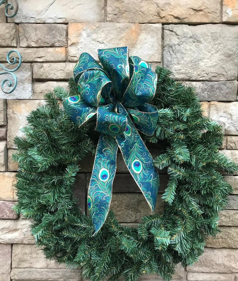 "CHRISTMAS TREE 10/"" WIDE TURQUIOSE PEACOCK WIRED EDGE BOW~FOR GIFTS DECORATION"