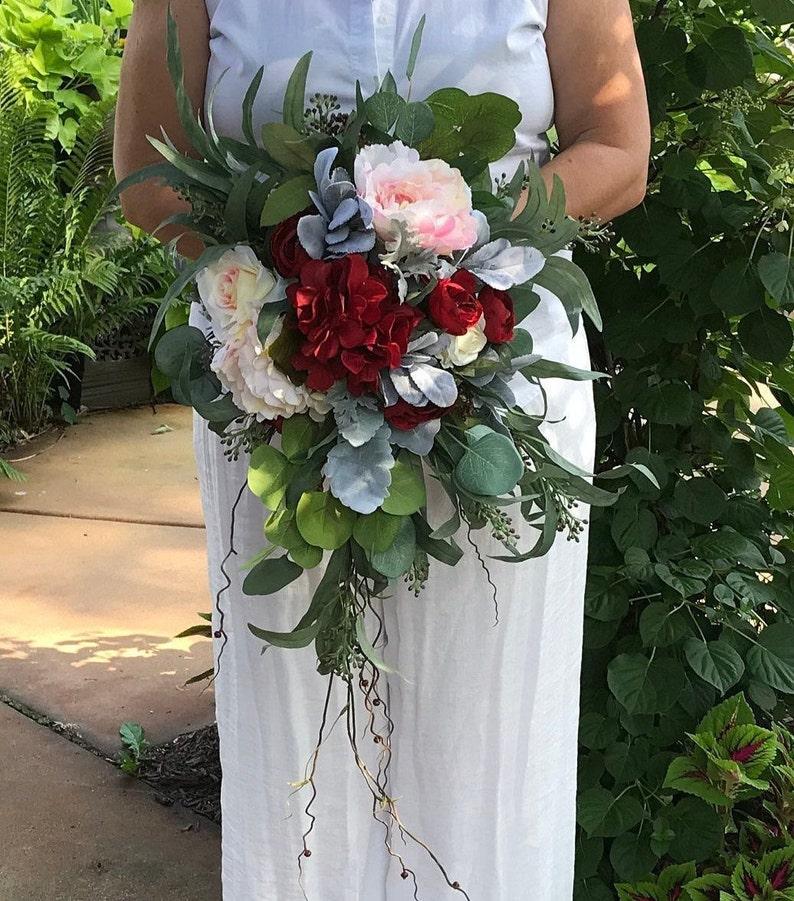 Boho Chic Cascading Bridal Bouquet Crimson Blush Soft Etsy