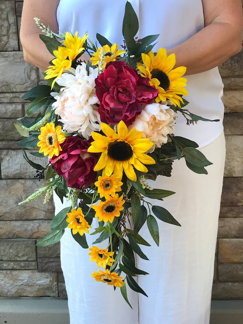 Boho Burgundy Sunflower Cascading Silk Bridal Bouquet Burgundy Sunflower Bouquet Sunflower Wedding Bouquet Burgundy Peonies Sunflowers