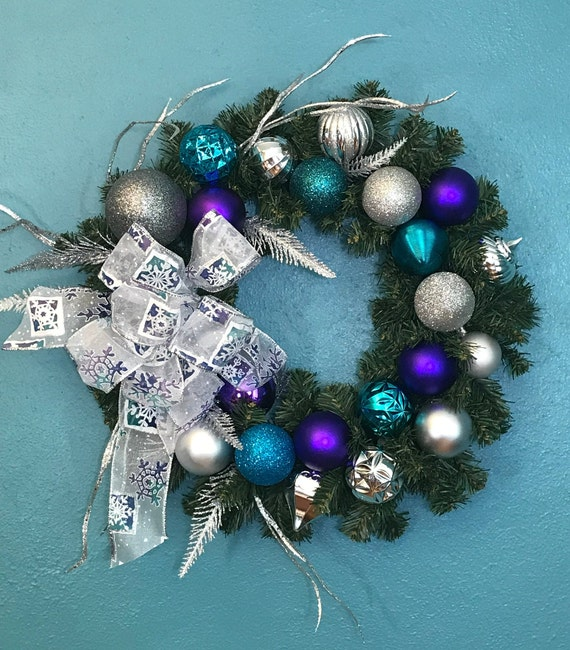 Purple Turquoise Silver Faux Evergreen Wreath Sparkling Faux Christmas Wreath Turquoise Purple Silver Ornaments Thin Between Doors Wreath