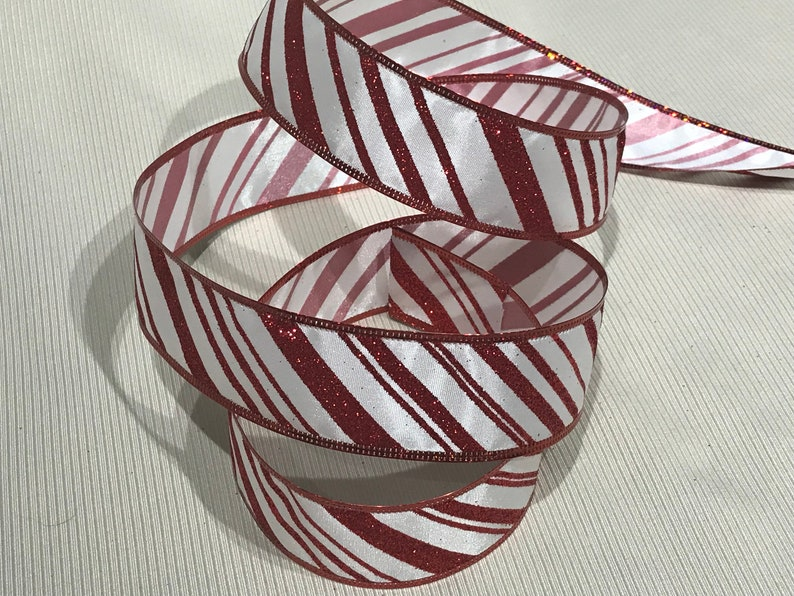 6 Yds Christmas Dark Red Green Gold Metallic Stripe See Through Wired Ribbon 2 1