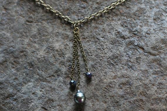 Bleu clair Opale Blanc Perle Collier Argent Sterling 3 MM BEAD Minimal Bijoux