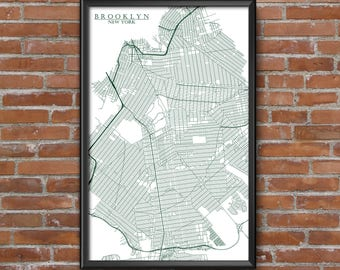 Brooklyn, New York Map Art (NY Jets)