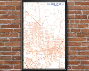 Gainesville, Florida Map Art (University of Florida)