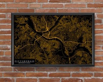 Pittsburgh, Pennsylvania Map Art (Pittsburgh Steelers)