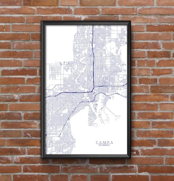 Tampa Florida Map.Tampa Florida Map Art Tampa Bay Lightning Etsy