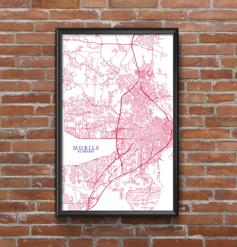 Mobile, Alabama Map Art (South Alabama Jaguars) - Mancave Dorm Room Superfan