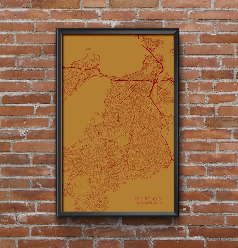 Boston Massachusetts Map Art Boston College Mancave Dorm | Etsy