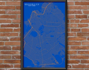 Brooklyn, New York Map Art (NY Knicks)