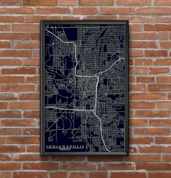 Indianapolis Indiana Map Art Butler University | Etsy