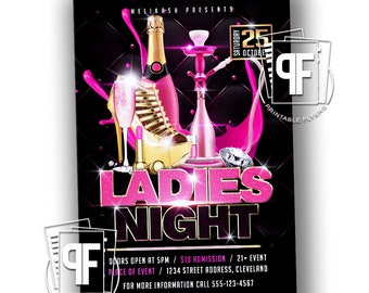 Ladies Night Party Flyer - Party Flyer - Ladies Night Hookah Flyer - Black and Pink Party Invitation - Ladies Night Printables -