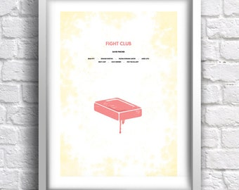 Fight Club - alternative, minimalist movie poster, art print, home decor, David Fincher, Brad Pitt