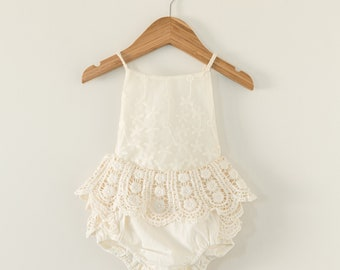 Crochet Lace Baby Romper Boho Lace Baby Romper Cake Smash Outfit First Birthday Outfit Flower Girl Romper Lace Boho Baby Romper Cream Boho