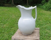 Large Vintage White Ironstone Pitcher - Meakin - England