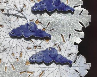 Cloud ornament, blue cloud ornament, ceramic cloud ornament, Chinese clouds