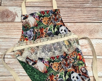 Toddler Size Apron- Zoo Animals