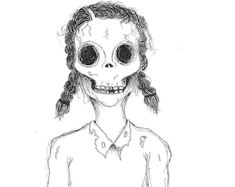 dead girl pen drawing