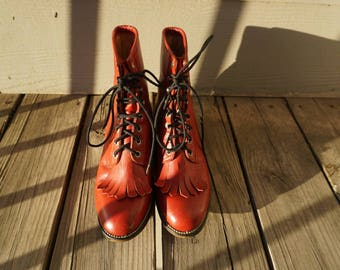 Vintage red leather lace up boots