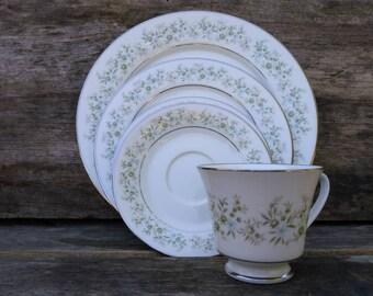 Noitake, Fine China, Savannah, #2031, Wedding China, 5 Piece Setting, Floral Pattern, Platinum Trim, Wedding Gift, Mother's Day Gift