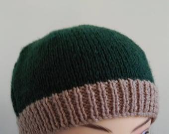 Beret beanie knit green hat
