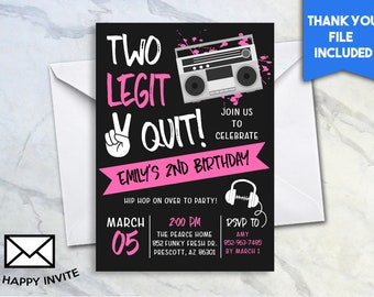 Two Legit 2 Quit Girls 2nd Birthday Invite 5x7 Digital Personalized Invitation Stereo Headphones Second 3471