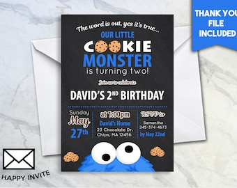 Cookie Monster 2nd Birthday Invite 5x7 Digital Personalized Second Invitation Cookies Chocolate The Word Is Out Two Blue Chalkboard 504