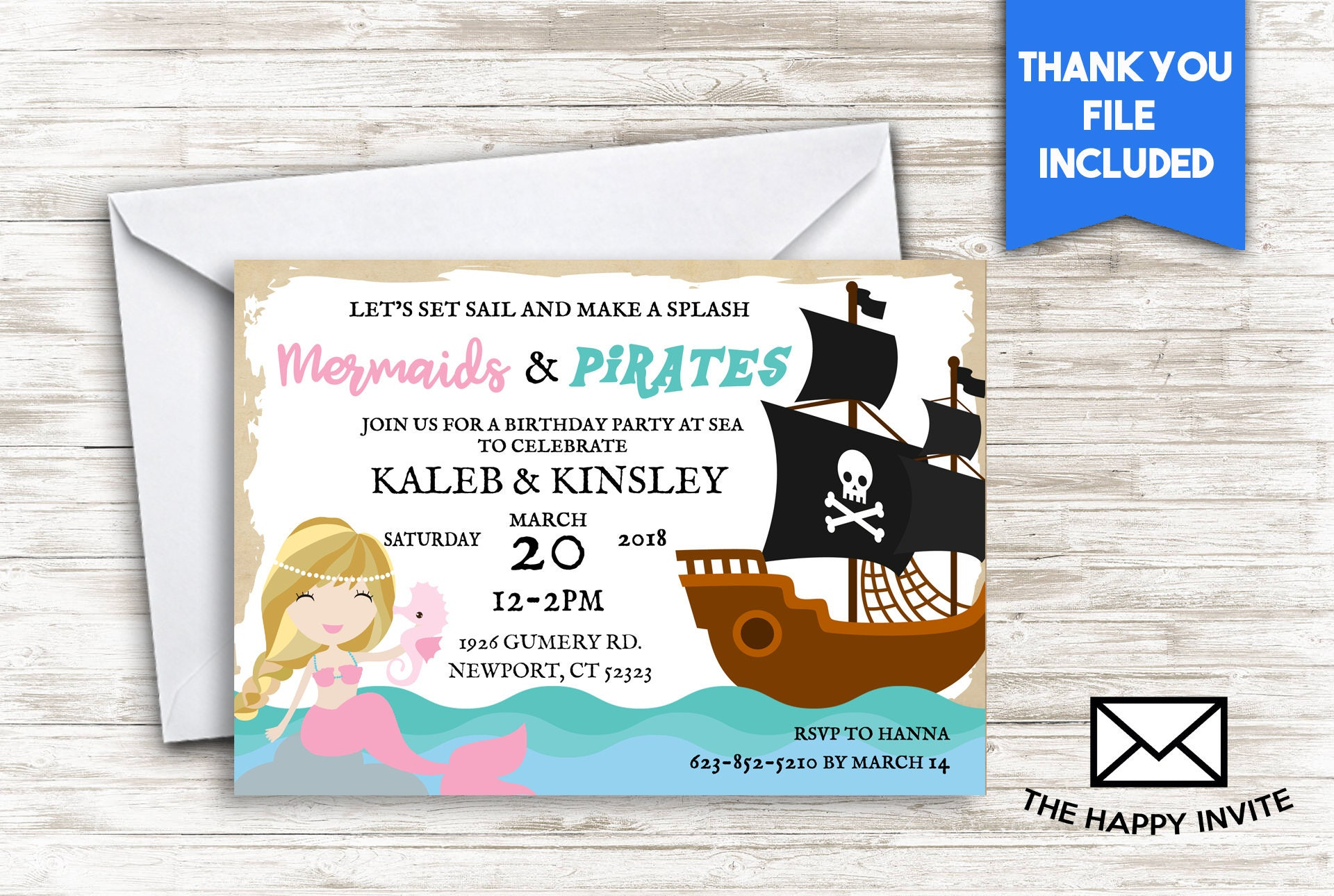 Mermaids And Pirates Double Birthday Invite 5x7 Digital | Etsy