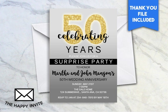 50th Anniversary Surprise Party Invite 5x7 Digital Etsy
