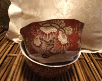 2 Gabrielle Red paisley cereal or soup bowls
