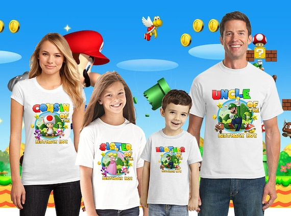 Personalised Super Mario Family Birthday T-shirt, adults, kids