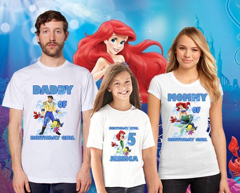 The Little Mermaid Ariel Birthday Shirt custom personalized t-shirt any NAME AGE