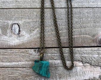 Raw Chrysocolla Gemstone Throat Chakra Necklace