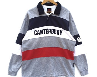 98d4104a0c8 Canterbury Sweatshirt big Spell Out Canterbury polo rugby shirt multicolour  Colour Block Vintage 90's 80's Canterbury of New Zealand size XL